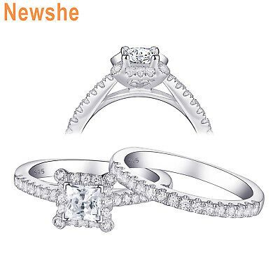 Sterling Silver Womens Colorless Cubic Zirconia Round Solitaire Wedding Set Ring Sizes 5-10