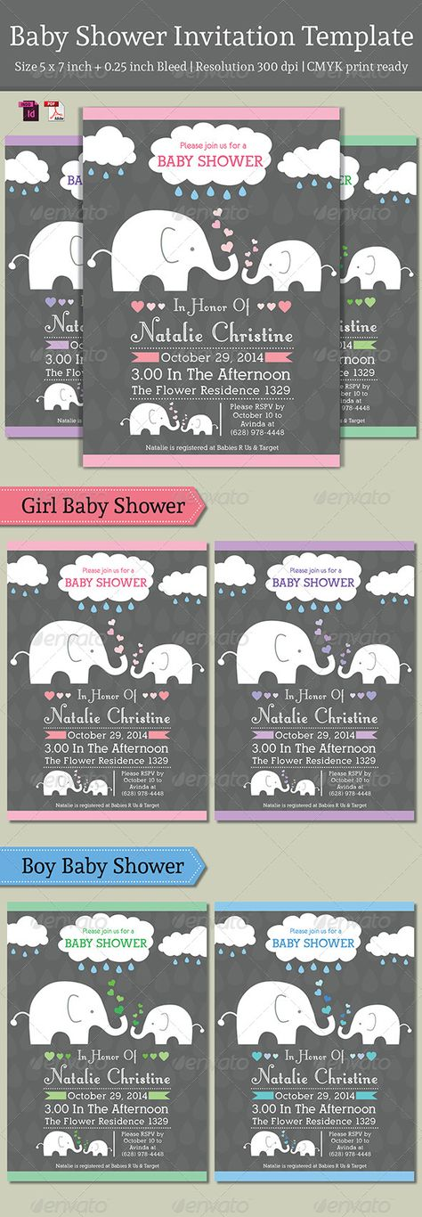 Baby Shower Invitation Template available in four colours variation for Boys and Girls. Easy to change the text and colours.  Desc