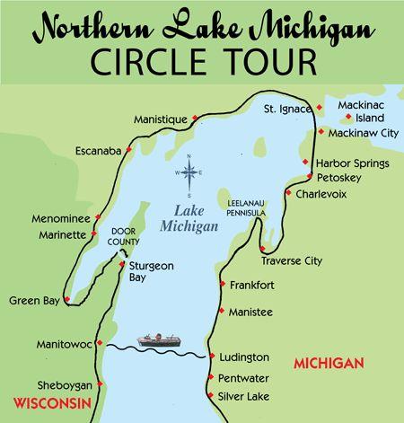 lake michigan circle tour map 11 Best Lake Michigan Circle Tour Images Lake Michigan Michigan lake michigan circle tour map