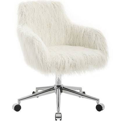 White Fuzzy Desk Chairs White Office Chair Adjustable Office