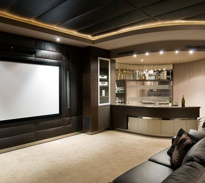 Interior Home Bar Ideas Solid Wood Material With Theatre Entertainment Recessed Ceing Lights Black Leather Sectional Sofa Cushio