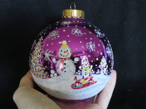 Shiny Purple Hand Painted Glass Christmas By Mysparklythings 4000