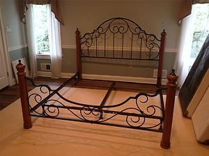 King Size Wrought Iron & Wood Post Bed | Wrought iron beds ...