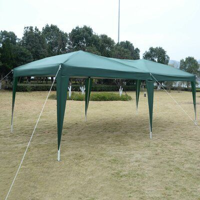 Costway 10 Ft W X 20 Ft D Metal Pop Up Party Tent Wayfair In 2020 Party Tent Gazebo Gazebo Canopy