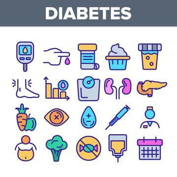 تشخيص مرض السكري مجموعة الرموز ناقلات الخطية Icon Set Vector Icon Set Pictogram