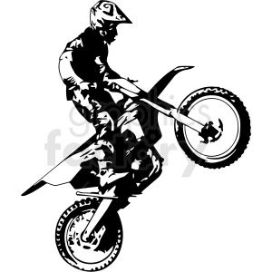 Black And White Motocross Rider Doing Wheelie Vector Illustration