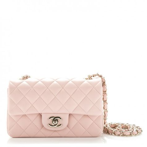 4eec66e0dfdc2b This is an authentic CHANEL Lambskin Quilted Mini Rectangular Flap in Light  Pink. The chic little cross body classic mini flap is featured in soft  lambskin ...
