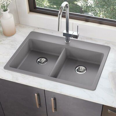 Elkay Quartz Classic 33 L X 22 W Double Basin Drop In Kitchen