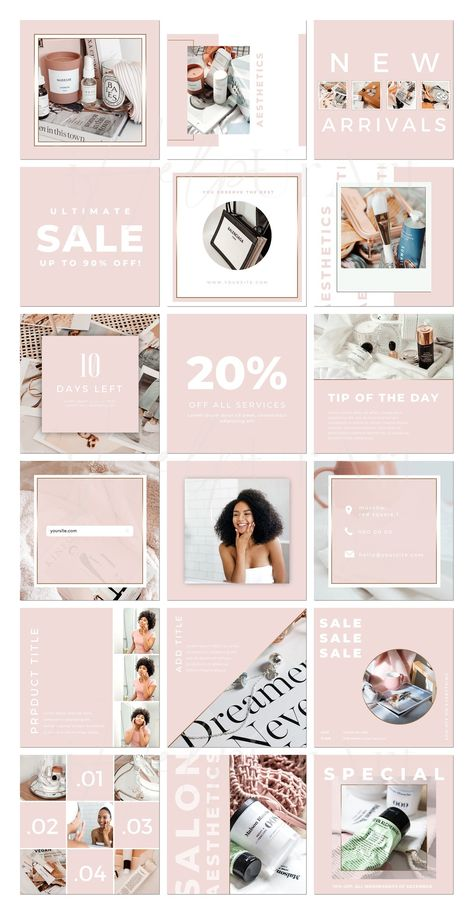 Instagram Posts Templates for Canva - Editable Instagram Posts - Beauty Service Instagram Layout - Blush Pink Insta Posts - Canva Template