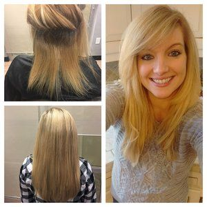 Blonde Braidless Hair Extensions Done On Our Happy Client In Atlanta Ga