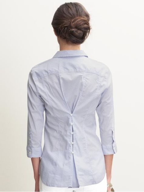Way to upcycle a too-big shirt...sew great tiny buttons....doin' this!