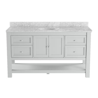 Home Decorators Collection Gazette 61 In W X 22 In D Bath Vanity In Grey With Marble Vanity Top In Carrara White Gaga6022ds Car The Home Depot Marble Vanity Tops Home Decorators
