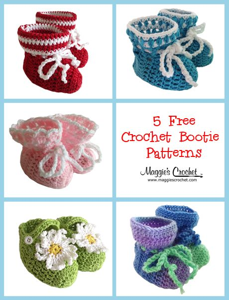 5 Free Crochet Baby Bootie Patterns 5 that make perfect gifts for a new mom or mom-to-be!  From Maggie's Crochet.