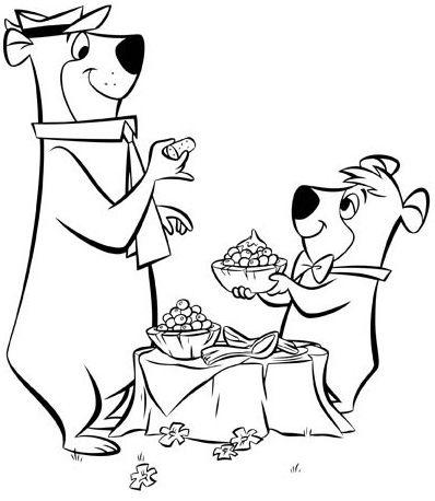 Yogi Bear And Boo Boo Eating Honey Coloring Page Bear Coloring Pages Coloring Pages Yogi Bear