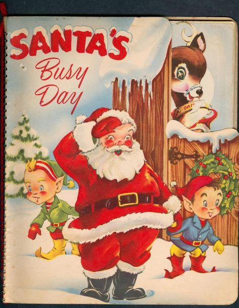Retro Vintage Santa's Busy Day Retro Vintage Christmas Craft Fabric Block - Great for Quilting, Pillows Vintage Christmas Images, Old Fashioned Christmas, Christmas Past, Christmas Books, Father Christmas, Retro Christmas, Vintage Holiday, Christmas Pictures, Christmas Holidays
