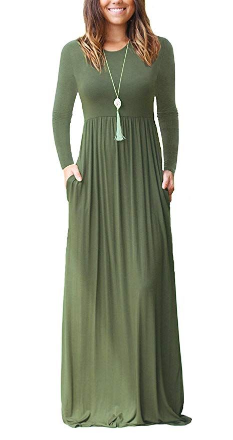 AUSELILY Womens Plus Size Long Sleeve Loose Plain Casual Long Maxi Dresses with Pockets