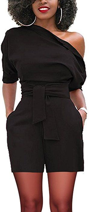 9155ffaf5b08c Amazon.com: Vilover Women's Sexy Sleeveless Belted Short Rompers ...