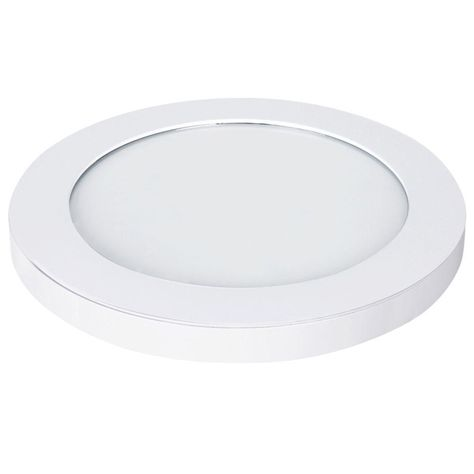 White LED Edge-Lit Flat Round Panel Flushmount Commercial Electric 15 in