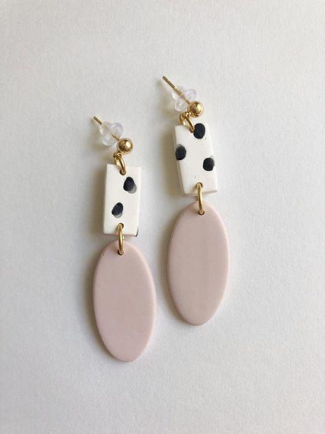 The Callie Earring // Pink Statement Earring, Polka Dot Earrings, Gifts for Her, Polymer Clay Earring, Trendy Earrings Diy Clay Earrings, Polymer Clay Jewelry, Earrings Handmade, Handmade Jewelry, Clay Beads, Diy Earrings Easy, Polka Dot Earrings, Copper Bracelet, Earring Backs