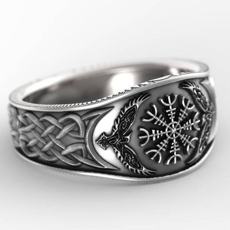 FOR 2 Payments for Palladium Oden's Ravens & Helm of Awe Ring, Mens Wedding Band, Raven Jewelry, Odin Viking Ring 1160 Mens Silver Rings, Silver Man, Sterling Silver Jewelry, Silver Earrings, 925 Silver, Silver Bracelets, Bracelet Viking, Viking Jewelry, Bracelet Men