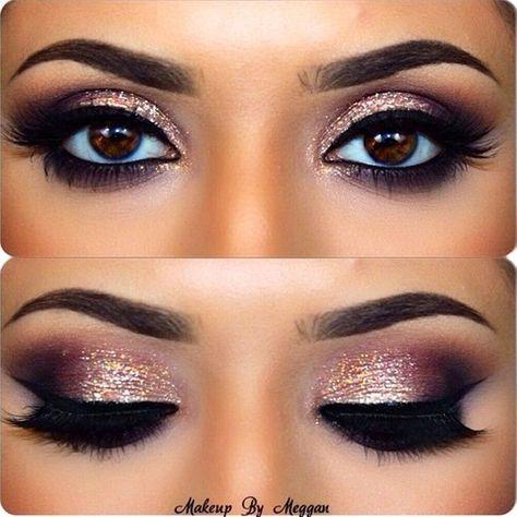 Pretty glittery eye makeup. Smokey eye shadow