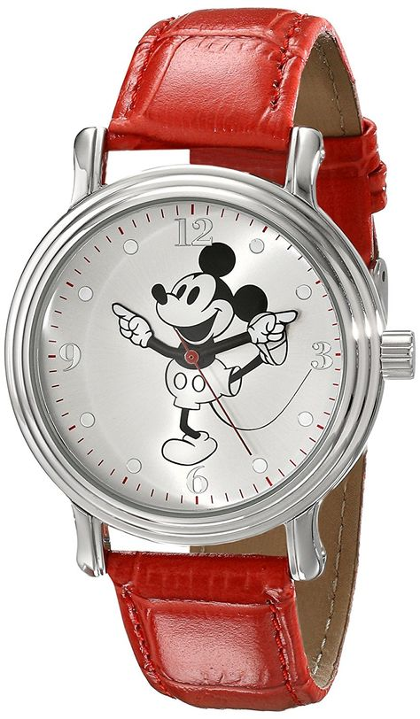 1cc6726371 Disney Women's W001866 Mickey Mouse Silver-Tone Watch with Red Faux Leather  Band -- Tried it! Love it! Click the image.