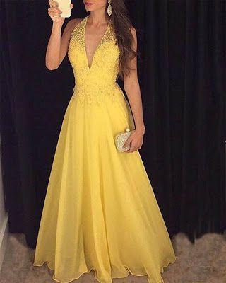 Vestido De Graduacion Largo Amarillo Vestidoparagraduacion Vestidolargoamarillo Prom Dresses Yellow Backless Prom Dresses Backless Evening Dress
