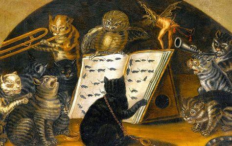 """""""Gufo insegna ai Gatti come catturare i Topi"""" di autore sconosciuto ma di Scuola Lombarda (Italia sec. XVIII)"""