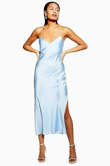 Womens Satin Cowl Back Slip Dress Light Blue Satin Slip Dress Blue Satin Dress Summer Dress Outfits