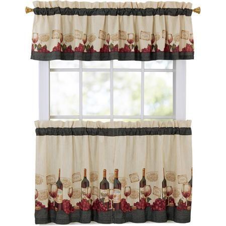 Mainstays Vineyard 3 Piece Kitchen Curtain Set Walmart Com Kitchen Curtains Kitchen Curtains And Valances Curtains