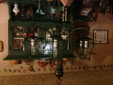 Chandelier shade frames wrapped in chicken wire and painted using ...