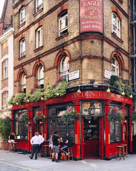 London is.the red pub of Marylebone. Pub Design, Coffee Shop Design, Cafe Exterior, Restaurant Exterior, Modern Restaurant, Pub Interior, Cafe Interior Design, London Pubs, East London