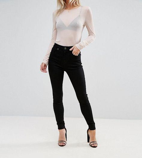 57333bc4b3e DESIGN Petite  Sculpt me  high waisted premium jeans in clean black ...