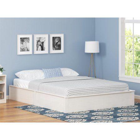 Ameriwood Home Platform Bed Vintage White Full Bedroomfurniturefullsizebeds Queen Size Bed Frames Full Bed Frame Bed Frame