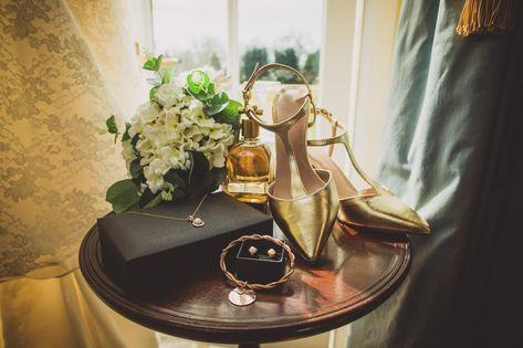 L+ R wedding | Vintage wedding accessories - wedding shoes, vintage golden jewellery| The Lawn wedding photography | London based wedding photographer |