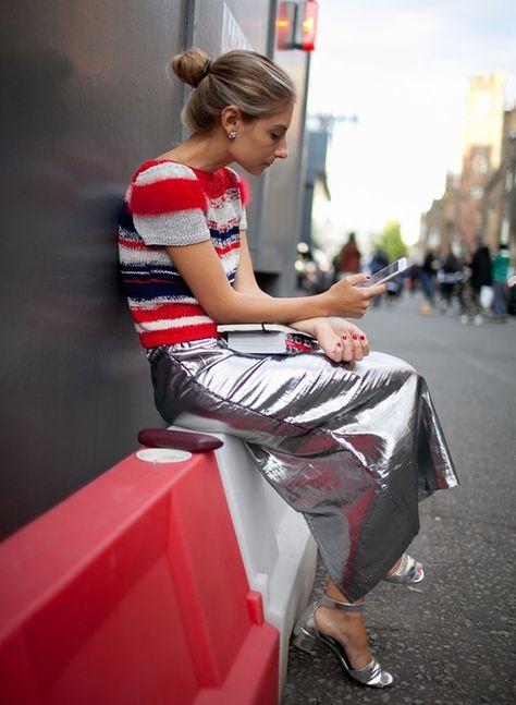 Retro striped crop boxy top and futureistic metallic spaceman skirt London Fashion Week Street Style Photos Spring 2016