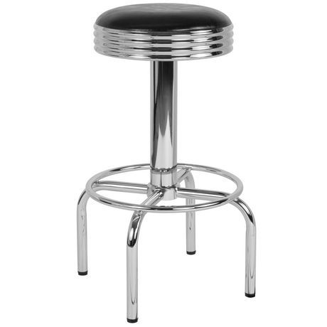 Flash Furniture Retro Diner Barstool With Chrome Base In Black Vinyl Black In 2019 Brown Bar Stools Bar Stools White Bar Stools