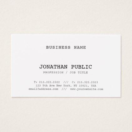 Elegant Classic Look Design Simple Plain Vintage Business Card Zazzle Com Vintage Business Cards Business Card Minimalist Business Cards Elegant