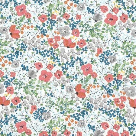Tissu Popeline Fleurs Coquelicots Multicolore Coquelicots Tissu