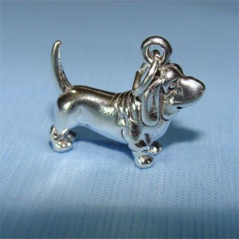 Basset Hound Sterling Silver Dog Charm Dog Charms Basset Hound Basset