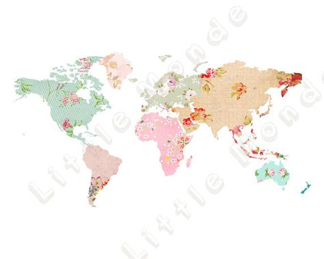 This is an INSTANT DOWNLOAD! 16x20 and 11x14 Large Floral World Map - best of large printable world map pdf