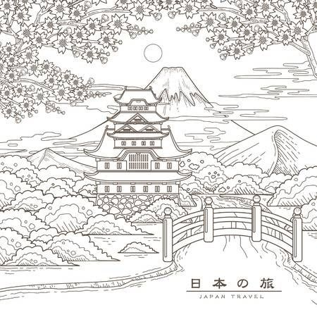 Attractive Japan Travel Poster With Sakura Japan Travel In Japanese Drawings Coloring Pages Japan Travel