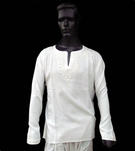 b413045abc1 White Dress Mens Shirt Kurta Top Tunic Indian Handemb Cotton Spring ...