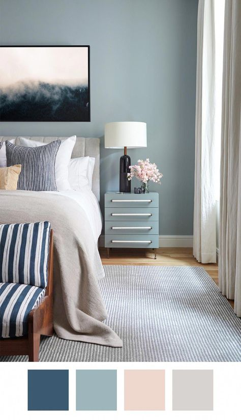 Killer Color Palettes To Try if You Love Blue — Whether you choose to go with a light Parisian blue or a rich indigo as the base of your room palette, you can't go wrong, honestly. To that, some oatmeal-colored beige, a mix of crisp and off whites, and a touch of blush makes for a totally dreamy design scenario. #livingroomdiy