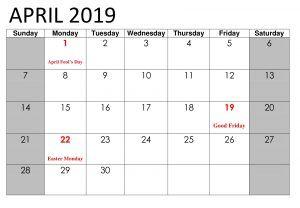 April 2019 Holidays Calendar Template Printable Calendar