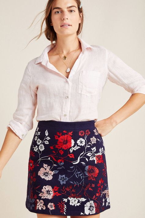Alene Embroidered Mini Skirt by Maeve in Blue Size: 10 Womens Skirts at Anthropologie  - Mini Skirts - Ideas of Mini Skirts #MiniSkirts