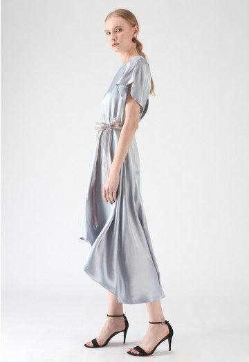 Twilight Or Dawn Asymmetrisches Satinkleid In Dusty Blue Satinkleider Satinkleid Kleider