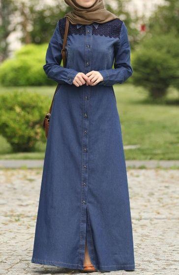 Dantelli Kot Pardesu Lacivert Tesettur Firsat Urunleri Suhneva Kot Elbiseler Moda Islami Giyim