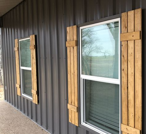We Added Shutters Next Plan Is Wrapping The Steel Post Barndominium Metalbuildings Metalbuildinghome Metal Building Homes Metal Buildings Building A House