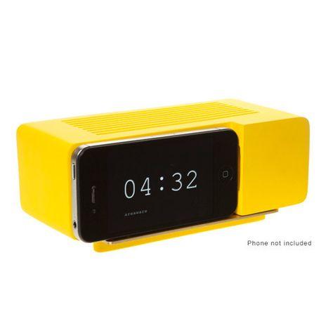 Yellow alarm clock/dock for iPhone, $30.